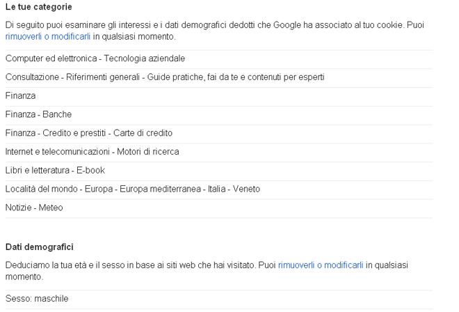 Google ci spia - le preferenze negli annunci Google