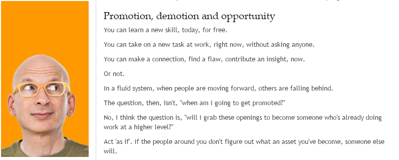 seth godin promotion, demotion opportunity