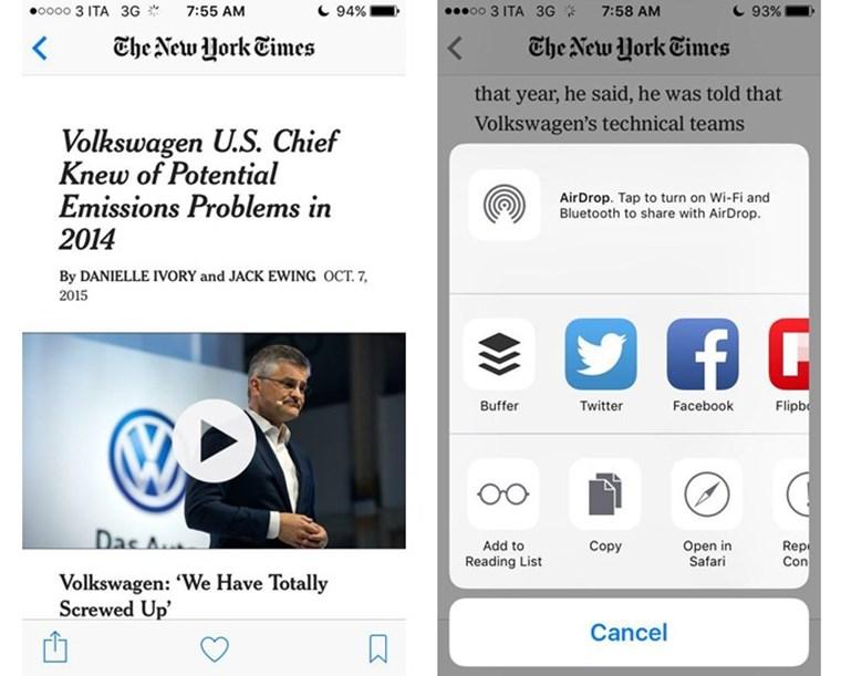 apple news opzioni di condivisione