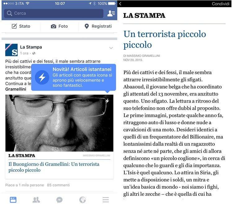 facebook instant articles articoli istantanei la stampa
