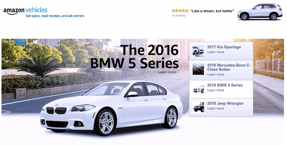 Acquisto delle auto online con Amazon
