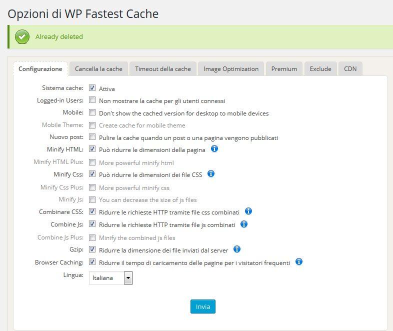 WP Fastest Cache velocità di caricamento dei siti