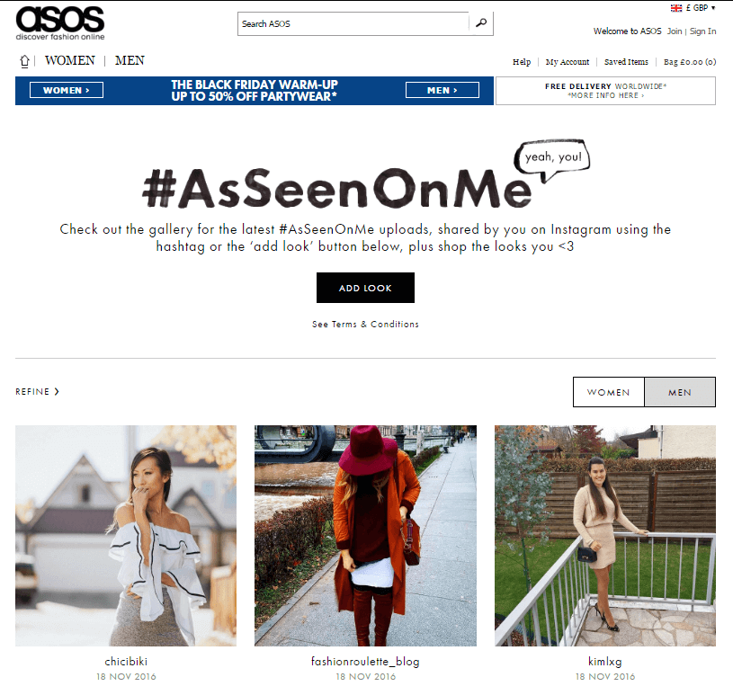 Shoppable Content ASOS #AsSeenOnMe