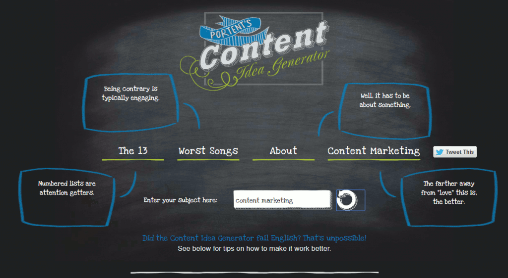 SEO Copywriting Portent's Content Idea Generator