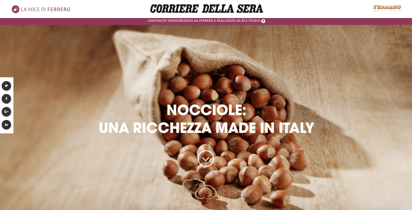 native advertising corriera della sera ferrero