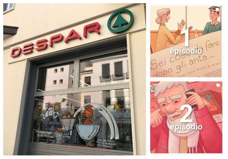 Offline storytelling - Digital visual novel of the Despar supermarket window in Treviso
